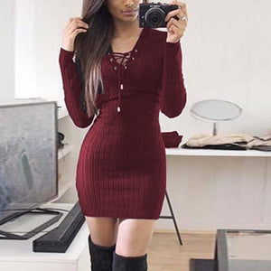 2018 Autumn Winter Women Dress Casual Black Gray Long Sleeeve V-Neck Dressrricdress-rricdress