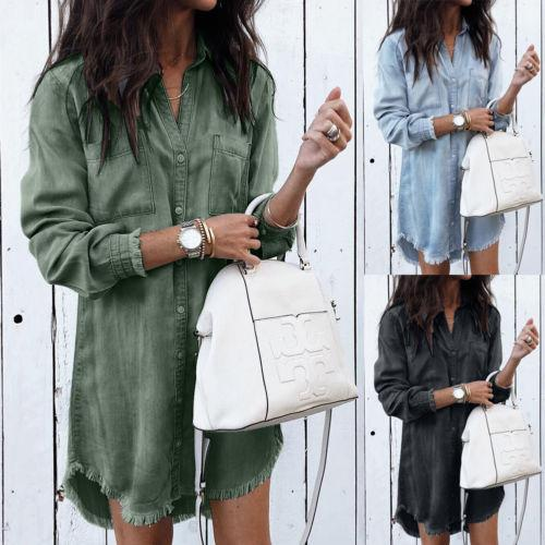 New Fashion Women Denim Shirt Long Sleeve Loose Blouse Lady Fashion Casualrricdress-rricdress