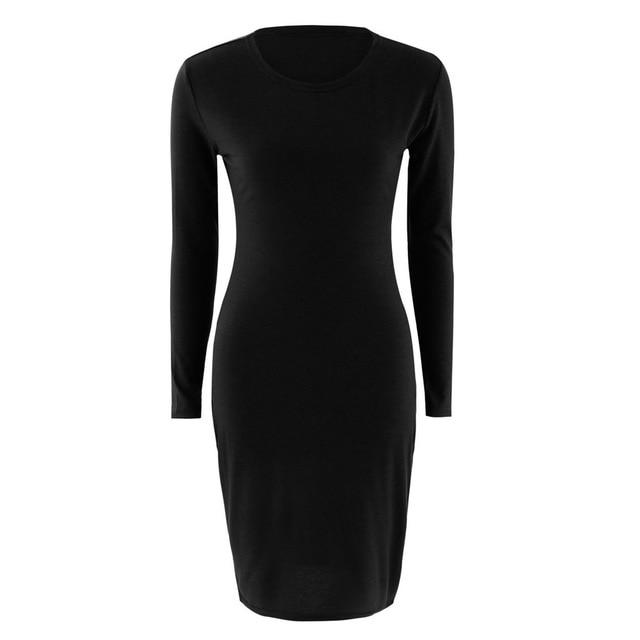 Autumn Spring Women Long Sleeve Dress Bodycon Sexy Slim Fit O-neck Casualrricdress-rricdress