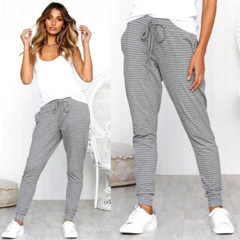 Sexy Comfort Strap Striped Casual Pants Fashion New Style Sports Pants Forrricdress-rricdress