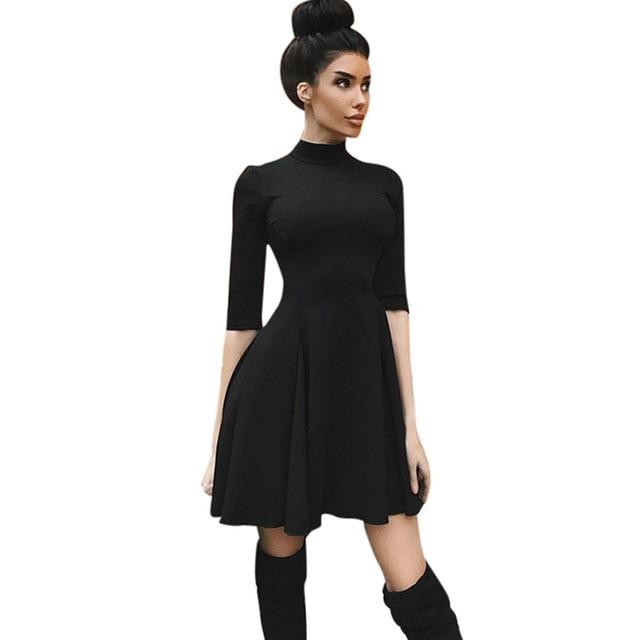 2018 Autumn Sexy Black Dress Women Half Sleeve Stand Collar A-Line Slimrricdress-rricdress