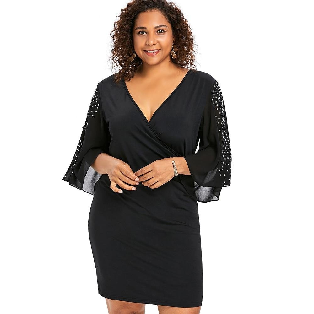 Plus Size 5XL Flare Sleeve Overlap V Neck Bodycon Surplice Dressrricdress-rricdress