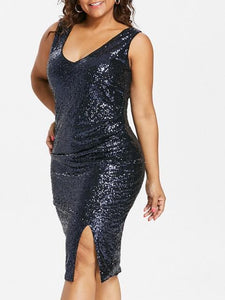 Plus Size Sexy V Neck Female Sequined Sheath Dress Women Sleevelessrricdress-rricdress