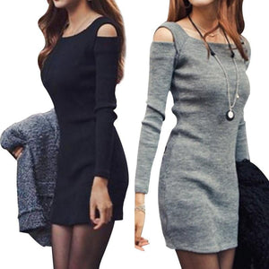 2018 Hot Sale Sexy Women Long Sleeve Bodycon Sweater Knitted Dress Femalerricdress-rricdress