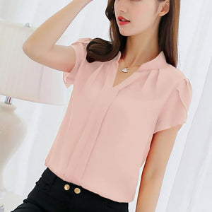 Newest Women Shirt Fashion Short Sleeve Shirt Leisure Chiffon Blouse Plusrricdress-rricdress