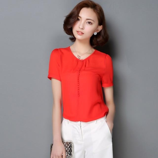 High Quality Women's Casual Solid Blouse Loose Office Chiffon Short Sleeverricdress-rricdress