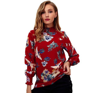 Chiffon Blouse Tops Flower Print Long Sleeve Ruffled Blouserricdress-rricdress