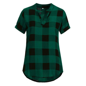 New Arrival Women Shirts Plaid Printed Short Sleeve V-Neck Irregularrricdress-rricdress