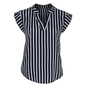 women shirt Office Lady Tops and Blouses V-neck Short Sleeve Striped Printrricdress-rricdress