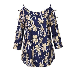 2018 Top Summer Women Blouse sexy Cropped Sleeve Top Print Offrricdress-rricdress
