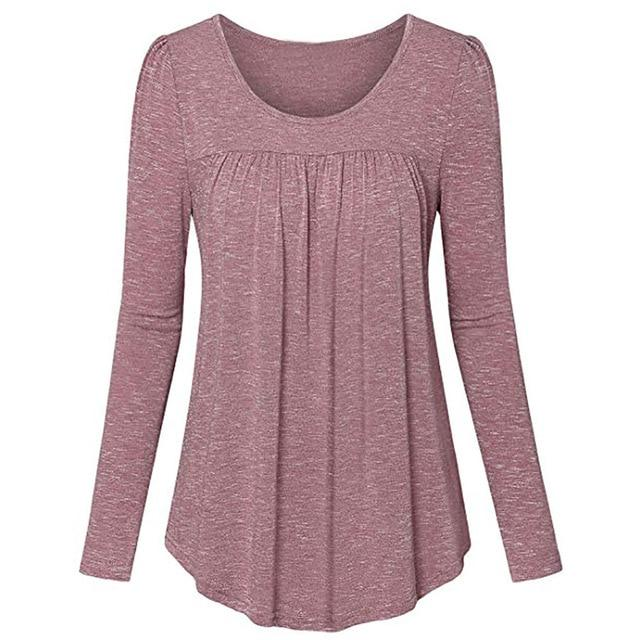 Womens Tops and Blouses O-Neck Long Sleeve Solid Pleated Frontrricdress-rricdress