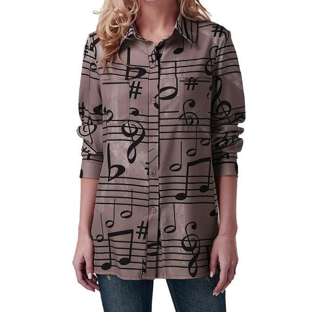 Fashion Ladies Clothing Blouse Women Turndown Collar Musical Note Print Longrricdress-rricdress