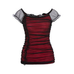 Women Summer Sexy Shirts 2018 Hot Black Red Slim Beautiful Ruffle Lacerricdress-rricdress