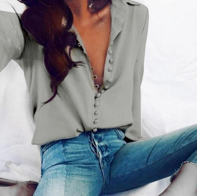 Women Fashion Casual Solid Long Sleeve Blouse Lapel Shirt blouse shirtrricdress-rricdress