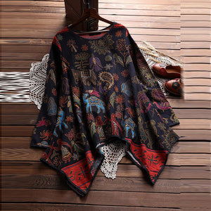 Plus Size 5XL Womens Tops and Blouses 2018 Feminina Vintage Print Longrricdress-rricdress