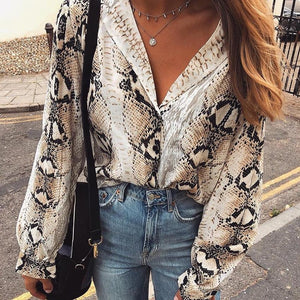 2018 Autumn New Women Snake Print Blouse Long Sleeves Notched Snakeskin Shirtsrricdress-rricdress