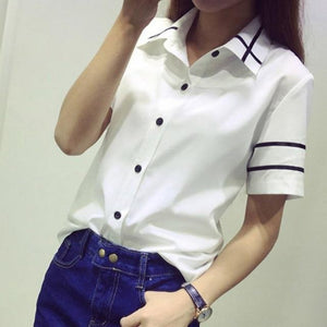 Fashion female elegant bow tie white blouses Chiffon turn down collar shirtrricdress-rricdress