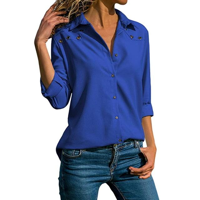 Women's Solid Color Button Blouse Lapel Long Sleeve Shirt Casual Topsrricdress-rricdress