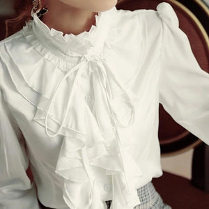 Retro Ruffled Blouse Shirt Turtleneck Collar Long Sleeve Formal Blouses Top Womenrricdress-rricdress