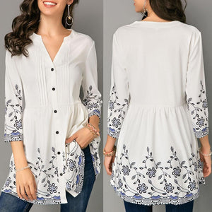 Fashion Womens Tops and Blouses Casual Button V-Neck Printed Three Quarterrricdress-rricdress