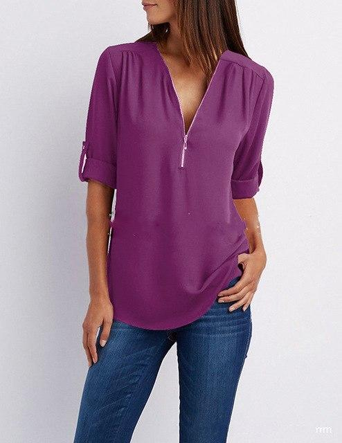Summer Shirt Women Chiffon Blouse Casual Long Sleeve Top Sexy Zipper Deeprricdress-rricdress