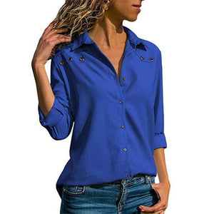 Women Tops Blouses 2018 Autumn Elegant Long Sleeve Blouse Shirt Turn Downrricdress-rricdress