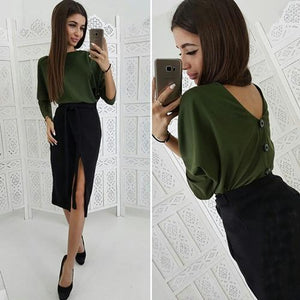 Women Casual Backless Sexy Blouse Ladies Long Sleeve O Neck Button Topsrricdress-rricdress