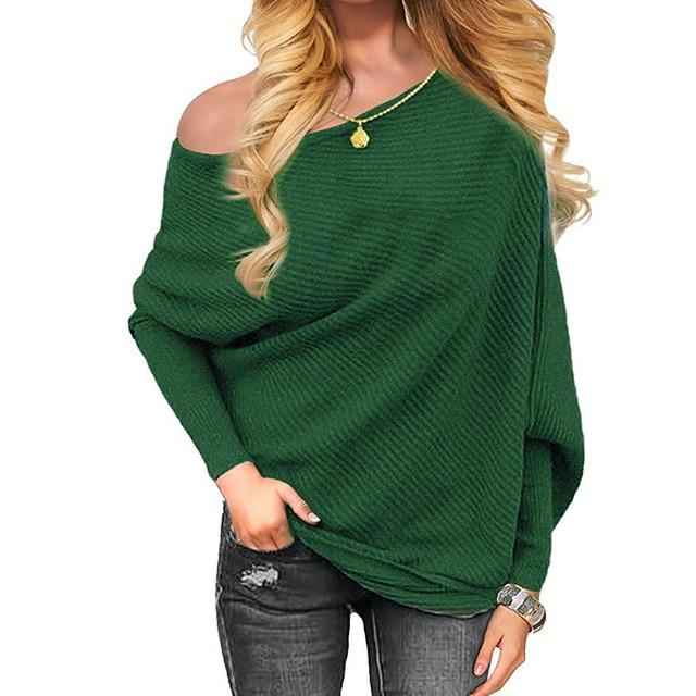 Off Shoulder Knitted Blouse Women Elegant Batwing Sleeve Women Shirts Casualrricdress-rricdress
