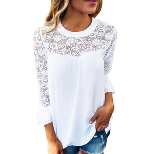 Elegant Summer Women Tops And Blouse Flare Long Sleeve White Lace Shirtsrricdress-rricdress