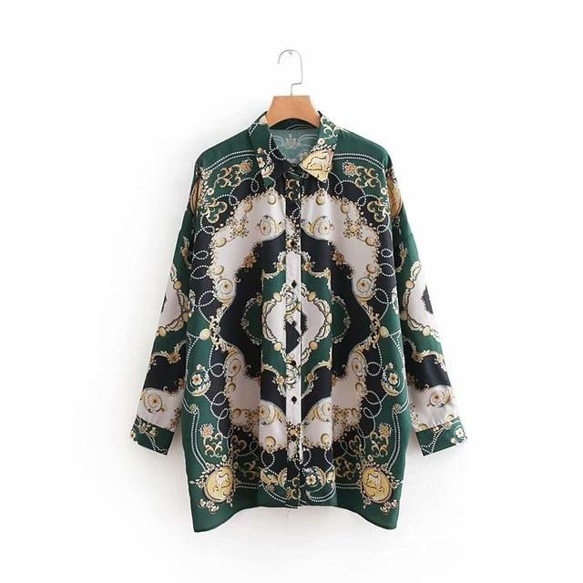 2018 women vintage position chain totem flower print casual loose blouse casualrricdress-rricdress