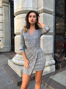 V neck plaid pleated one piece dress vintage flare bell sleeve sheathrricdress-rricdress