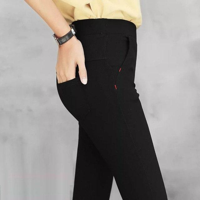 Skinny Pants Women Elastic Waist Women Pocket Casual Trousers 2018 rricdress-rricdress