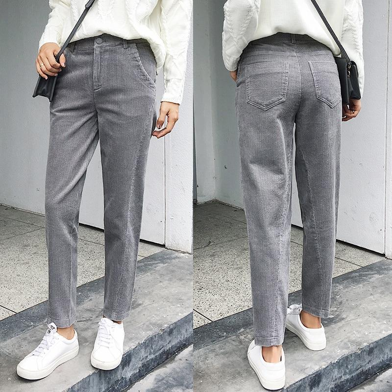 Women Corduroy Pants 2018 Autumn Winter Vintage Solid Casual Pleated Office Laldyrricdress-rricdress