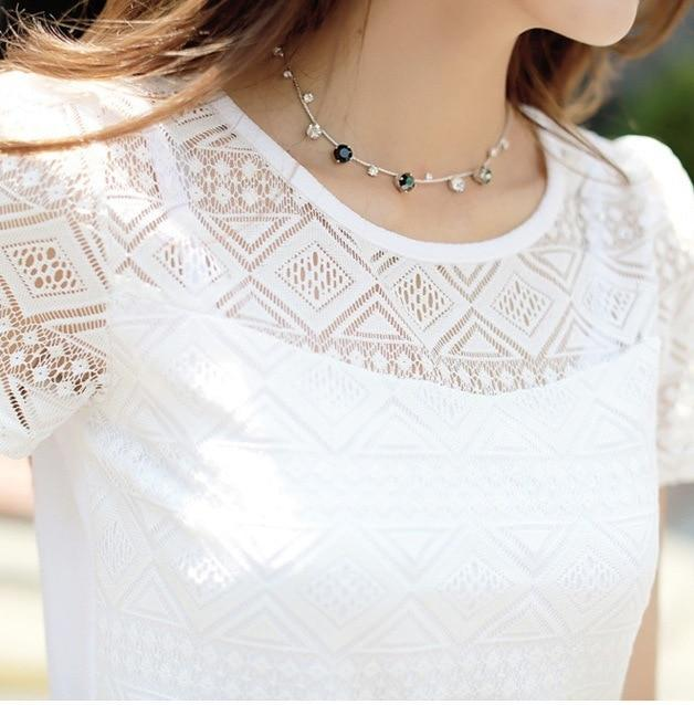 New Women Clothing Chiffon Blouse Lace Crochet Female Korean Shirts Ladiesrricdress-rricdress