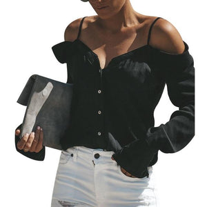 Off Shoulder Women Blouse Shirt Summer Autumn Sexy Long Sleeve Tops Elegantrricdress-rricdress
