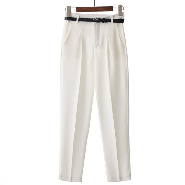 OL Style White Women Pants Casual Sashes Pencil Pant High Waistrricdress-rricdress