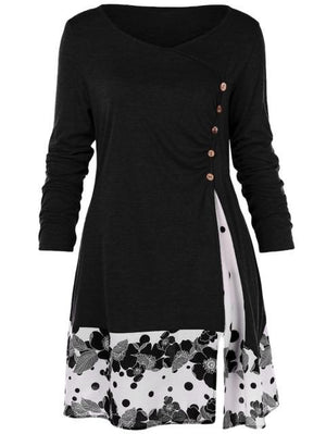 Plus Size 5XL Draped Floral Long Tunic Shirts Long Sleeve O-Neckrricdress-rricdress