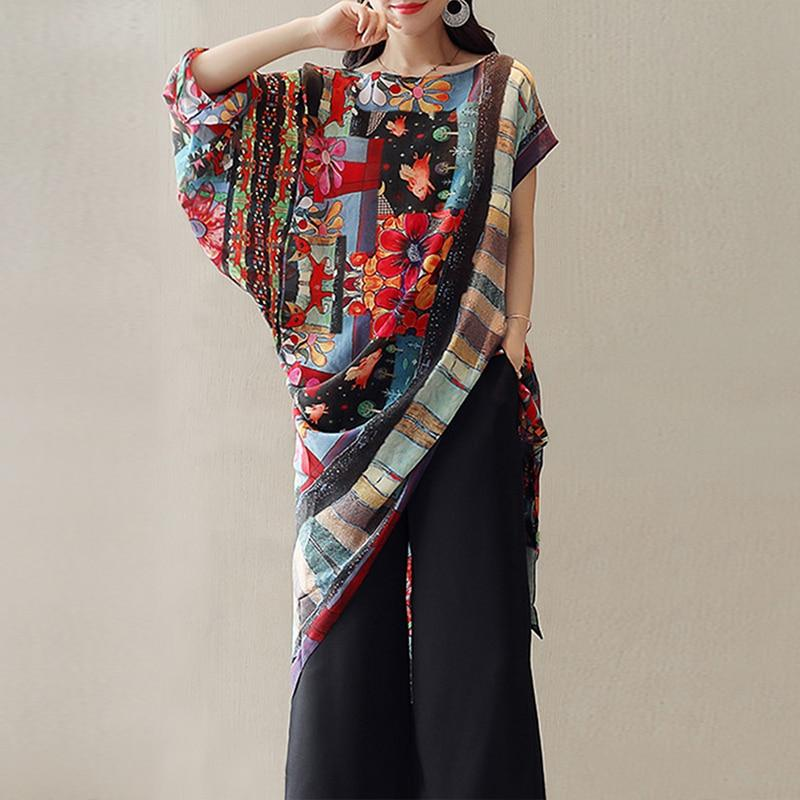 Fashion Women Floral Printed Irregular Bohemian Blouse Summer Short Batwing Sleeve Ethnicrricdress-rricdress