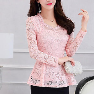 2018 Plus size Women clothing Spring lace Shirt Tops Cutout basic femalerricdress-rricdress