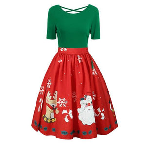 2018 Autumn Women Dress Fashion Womens Plus Size Christmas Print Criss Crossrricdress-rricdress
