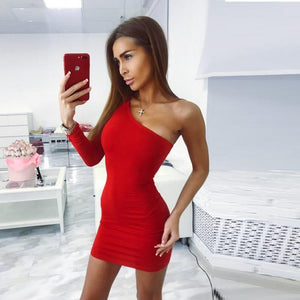 Cotton One Shoulder Slope Long Sleeve High Waist Sexy Bodycon Dresses 2018rricdress-rricdress