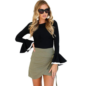 2017 Autumn Winter Crew Neck Flare Sleeve Women Blouse Slim Stiching Kimonorricdress-rricdress