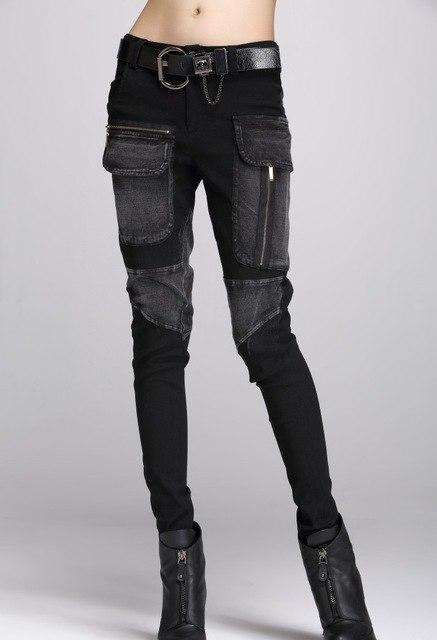 fashion new winter spring denim skinny black pants skinny pants female withrricdress-rricdress