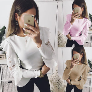 2018 Sexy Ruffle Lace Blouse Shirt Women Long Sleeve Floral White Blousesrricdress-rricdress