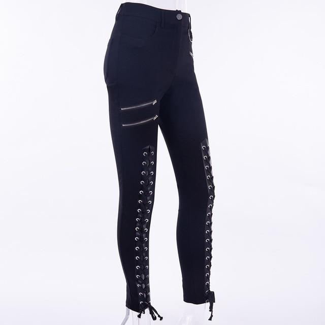 Gothic Punk Lace Up Pencil Pants Autumn Women Fake Zippers Pocketrricdress-rricdress