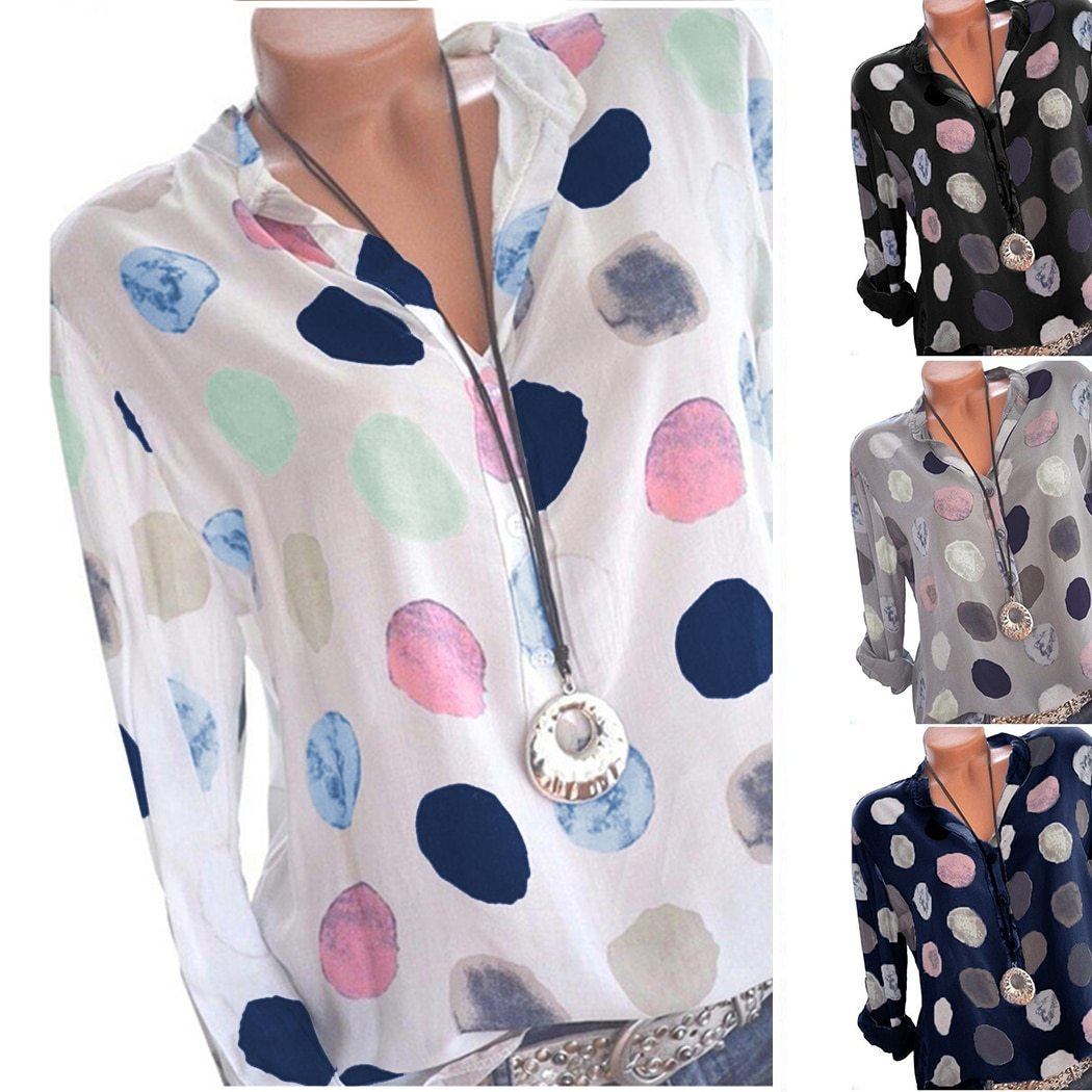 Plus Size Womens Tops And Blouses Dot Printed Long Sleeve Ladies Officerricdress-rricdress