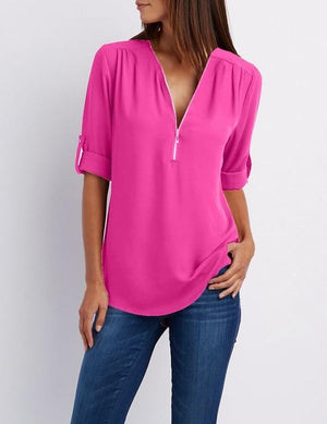 Women's V Neck Zipper Solid Colour Long SLeeve basic blouse Ladies rricdress-rricdress
