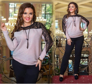 2018 Christmas Ladies Tops Plus Size Blouse Women Sexy Lace Blouse Metallicrricdress-rricdress