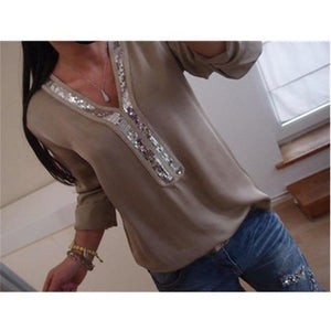 Plus Size S~5XL Sequined Women Shirts Tops Autumn Long Sleeve V Neckrricdress-rricdress