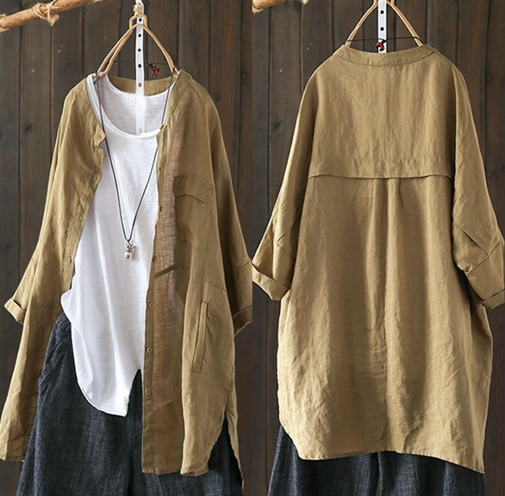 2019 Women Button Down Shirt Spring Linen Top Female Long Sleeverricdress-rricdress